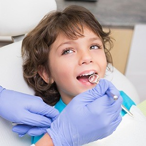 Child during dental exam