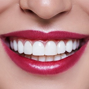 Closeup of beautiful teeth and healthy gums