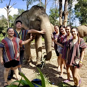 Dr Walia with friends and an elephant